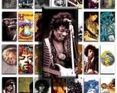 Jimi Hendrix (No. 3) - 1x2 inch Domino Size Image Tiles, Digital Collage Sheet PDF Images