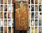 Gustav Klimt (No. 4) - .5x1.125in Mini Domino Size Image Tiles, Digital Collage Sheet PDF Images