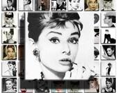 Audrey Hepburn (No. 4) - 1x1 inch Square Tiles, Digital Collage Sheet PDF Images