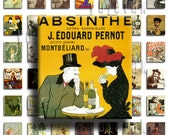 Absinthe (No. 2) - 75inx.83in Scrabble Size Image Tiles, Digital Collage Sheet PDF Images