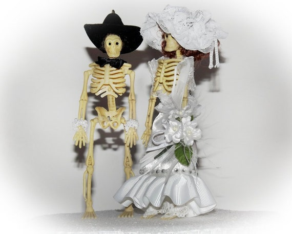 Items Similar To Gothic Skeleton Wedding Cake Toppers Handmade Steampunk