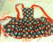 Hot Chick Aprons grey and red daisy vintage style apron