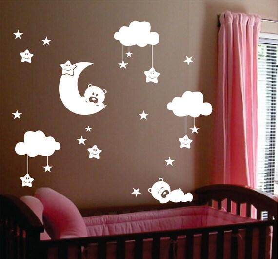Sleepy Bears Moon Clouds Vinyl Wall Lettering Vinyl Wall - Vinyl wall decals kids