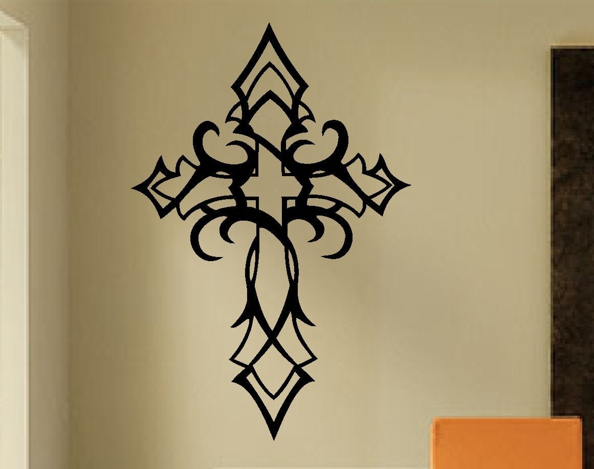 Tribal cross decal vinyl wall lettering vinyl wall decals for Christian wall mural