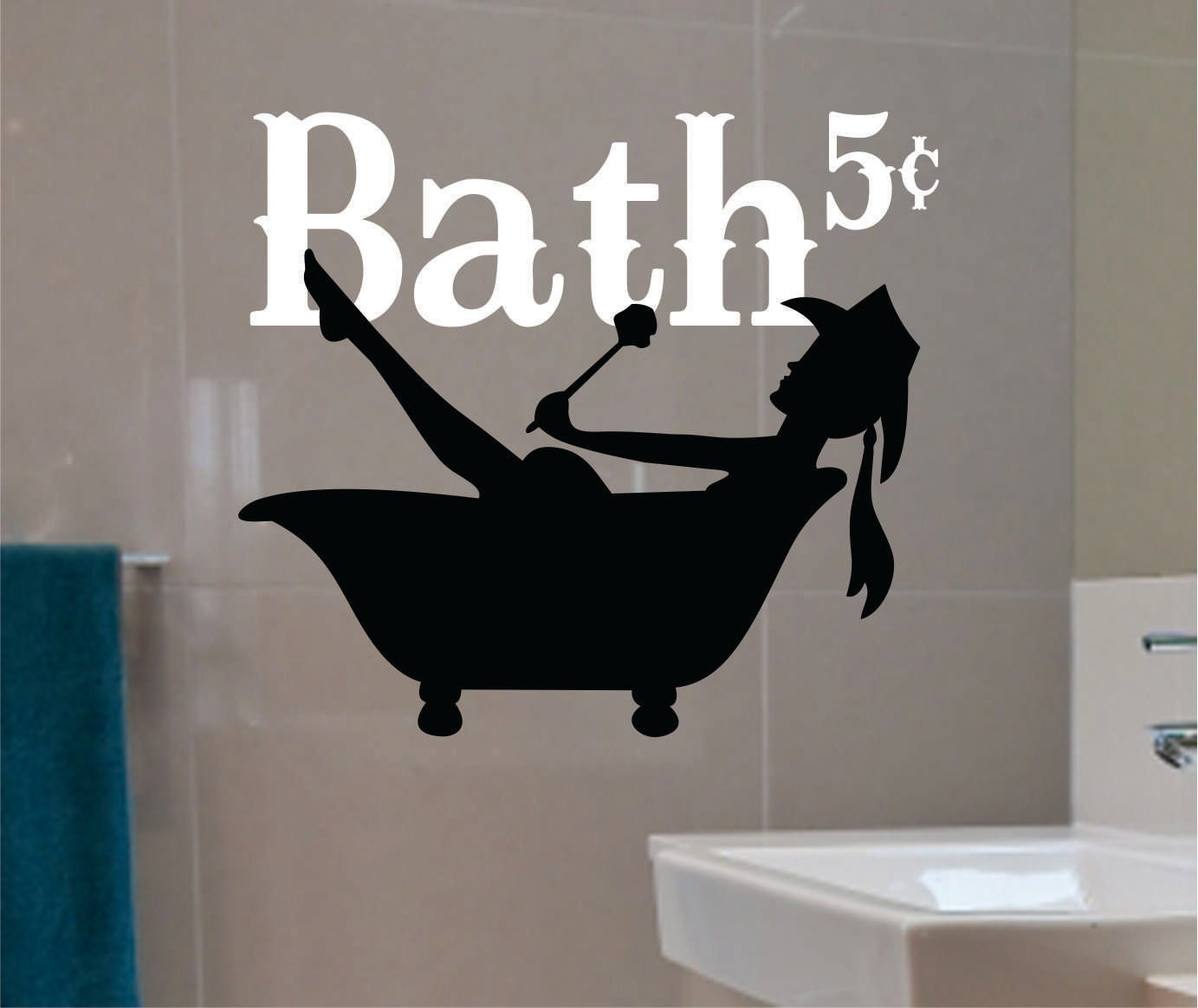 Cowgirl western bathroom decor vinyl wall lettering vinyl for Cowgirl bathroom ideas