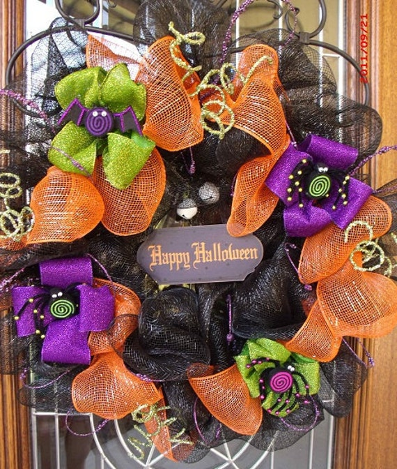 Halloween Mesh Ribbon Wreath