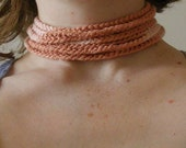 Cotton Crochet Coral Choker with Vintage Pearl Button