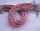 Big sale--15pcs 16-18 inch adjustable pink 3mm faux braided leather necklace cord with lobster clasp