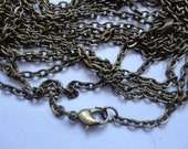 100pcs 2x3mm 27 inch antique bronze  chain necklace  with lobster clasp