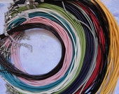 100pcs 2mm 17-19 inch adjustable assorted color(10 colors) genuine/real leather necklace cord with lobster clasp and chain