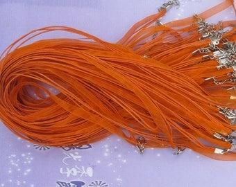 20pcs 17-19inch orange ribbon necklace cord