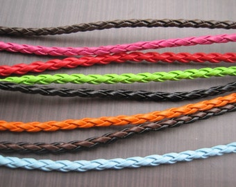 16pcs assorted color(8colors) 3mm 16-18 inch adjustable faux braided leather necklace cord