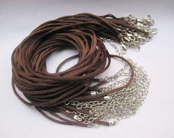 Perfect for small anakuru bails--50pcs 16-18 inch adjustable 2mm brown satin necklace cord with lobster clasp