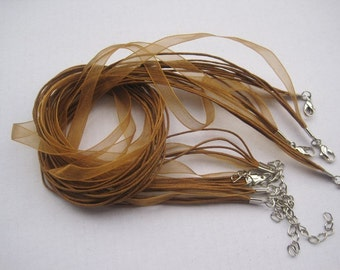 100pcs 17-19 inch light brown ribbon necklace cord