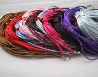 60pcs 20-22 inch adjustable 2mm assorted color satin neckalce cord