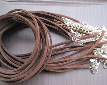 Silver plated ----100pcs 17-19 inch adjustable 3mm dark coffee with silver finding
