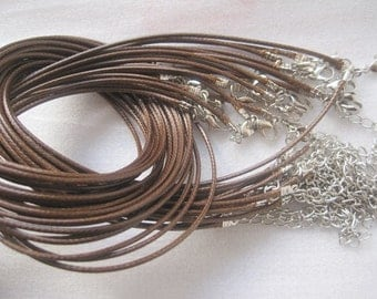 On Sale--Small bails supply--100pcs 1.5mm 18-20 inch adjustable coffee/brown color korea wax snake string necklace cord with lobster clasp