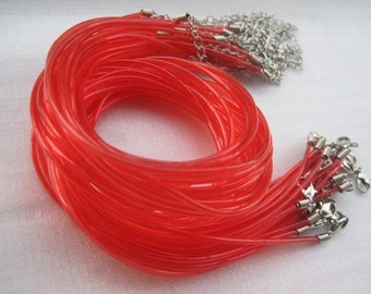 50pcs 16-18 inch adjustable 2.0mm red clear bright PVC necklace cord with lobster clasp