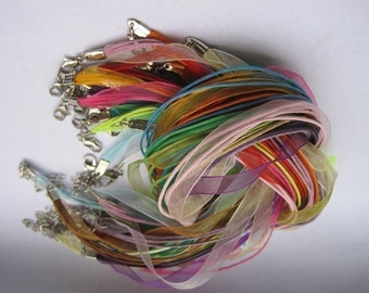 20pcs 18-20 inch adjustable assorted(20)colors ribbon necklace cord with lobster clasp