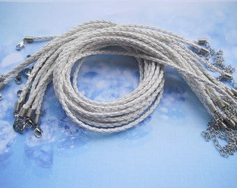 20pcs 3mm 16-18 inch adjustable white faux braided leather necklace cord