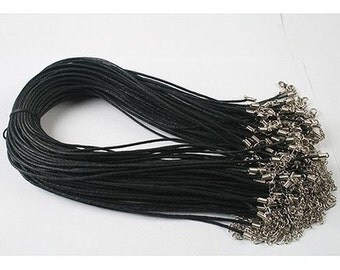 100pcs 1.5mm 16-18 inch adjustable black waxed cotton necklace cord with lobster clasp