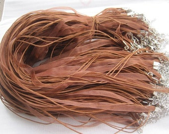 Promotion--30pcs 17-19 inch adjustable light coffee ribbon necklace cord with lobster clasp