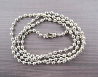 100pcs 2.4mm 24 inch bright stainless steel color ball necklace chain with matching connector