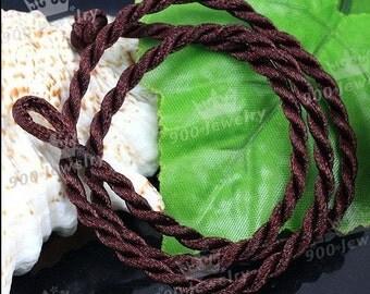 20pcs 18-20 inch 3mm coffee twist silk necklace cord
