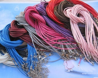 On Sale--Small bails supply--50pcs 1.5mm 17-19 inch adjustable assorted color korea wax snake string necklace cord with lobster clasp