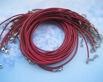 50pcs 2.0mm 16-18 inch adjustable dark red genuine/real leather necklace cord