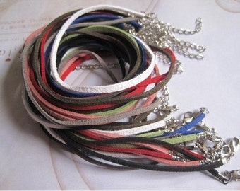 100pcs assorted colors 17-19 inch adjustable 3mm suede leather necklace cord