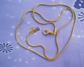 22pcs 1.2mm 17 inch gold plated snake chain necklace  with lobster clasp