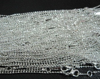 40pcs 1.5mm 17 inch silver plated ball chain necklace  with lobster clasp