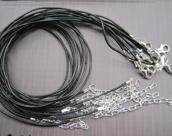 Handmade new style--Silver plated findings--20pcs 17-19 inch adjustable 1.5mm black genuine/real leather necklace cord
