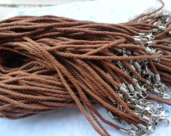 20pcs 17-19 inch 2.5mm light brown twist silk necklace cord
