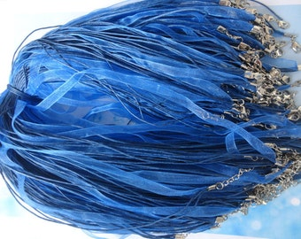 15pcs 18-20 inch adjustable light royal blue ribbon necklace cord with lobster clasp