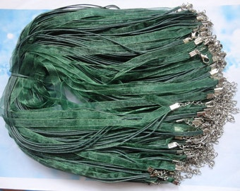 Promotion-45pcs 17-19 inch adjustable army green ribbon necklace cord with lobster clasp