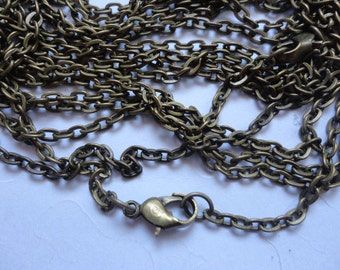 12pcs 2x3mm 17 inch antique bronze  chain necklace  with lobster clasp