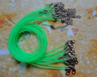 20pcs 2.0mm 17-19 inch adjustable green rubber necklace cord with lobster clasp and extension chain