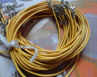 15pcs 2.0mm 17-19 inch adjustable yellow  color genuine/real leather necklace cord with chain