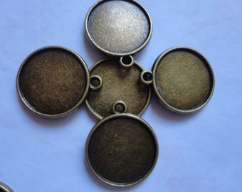 50Pcs 25mm Antique Bronze Plated Brass Cabochon Base frame Base for making resin photo necklaces and pendants