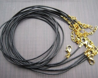 75pcs 17-19 inch adjustable 2.0mm black genuine leather with gold findings