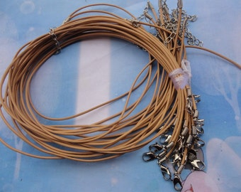 25pcs 1.5mm 17-19 inch adjustable ecru color genuine/real leather necklace cord with chain