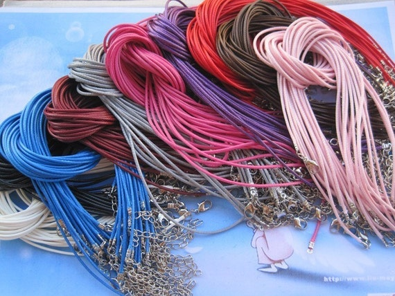 On Sale--Small bails supply--50pcs 1.5mm 22-24 inch adjustable assorted color korea wax snake string necklace cord with lobster clasp