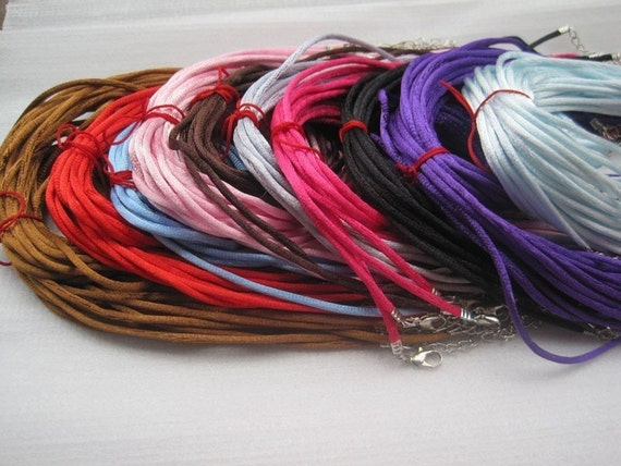 100pcs 16-18 inch adjustable 2.0mm assorted color satin necklace cord with lobster clasp
