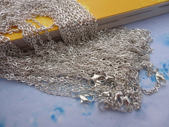 100pcs 2.0mm 17 inch silver plated  chain necklace  with lobster clasp