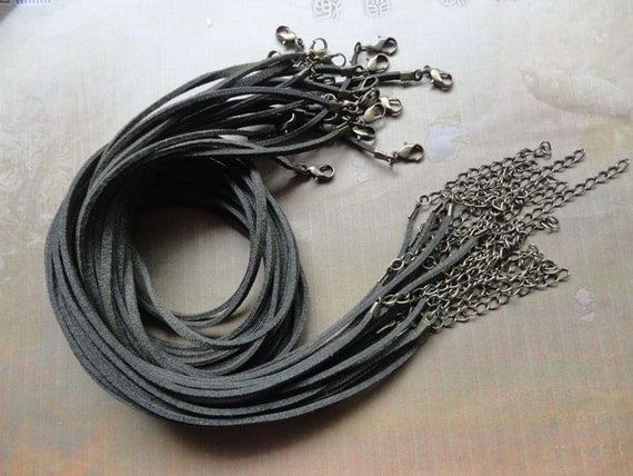 antique bronze finding--15pcs 3mm 18-20 inch adjustable army green  suede leather necklace cord