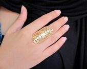 Gols lace filigree ring