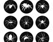 CIJ SALE Spiders Digital Collage Sheet 4x6 1 inch Circles Black and White Printable Halloween no.61 - SimpleCleanDesigns