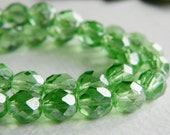 Faceted Round Czech glass beads, fire polished beads, 8mm, Clear Peridot & luster (20pcs)